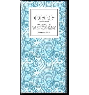 Coco Chocolatier Hazelnut & Isle of Skye Sea Salt Organic Milk Chocolate Bar