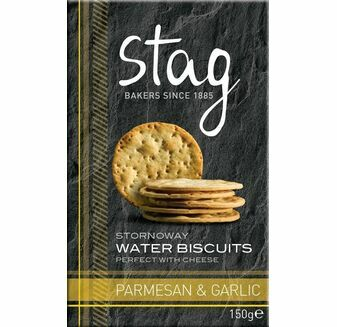 Stag Stornaway Water Biscuits with Parmesan & Garlic (150g)