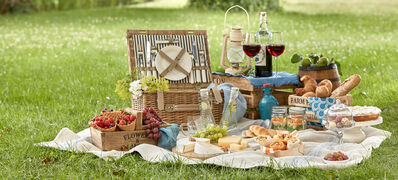 Outdoor,Summer,Lifestyle,With,A,Gourmet,Picnic,Laid,Out,On