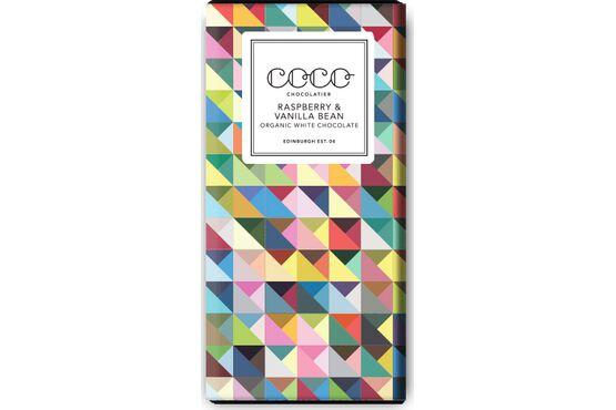Coco Chocolatier Raspberry & Vanilla Bean Organic White Chocolate Bar
